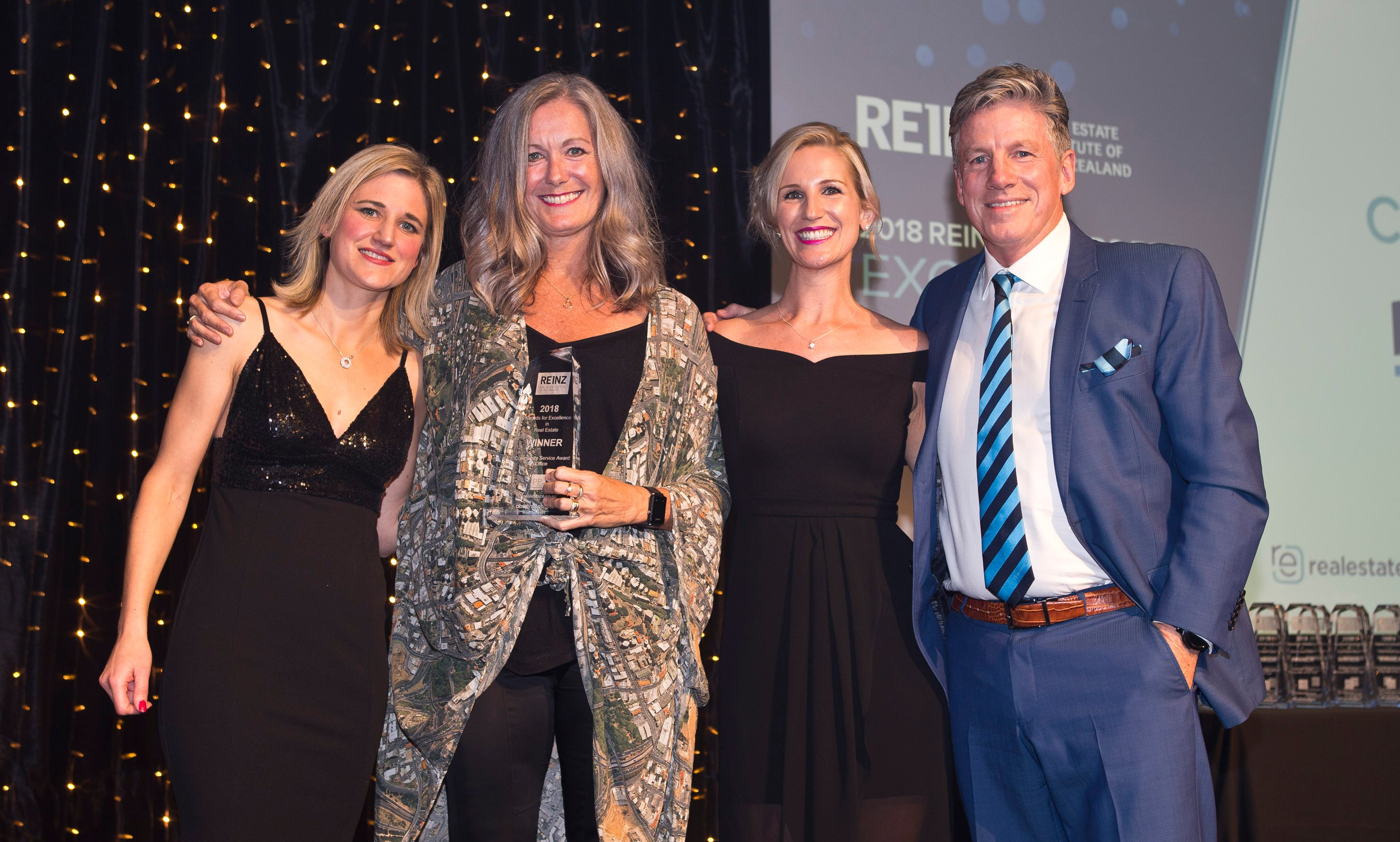 Community Service Office - Bindi Norwell REINZ CEO, Jaci Stevenson Community Relationship Manager C&C, Vanessa Taylor Head of Marketing realestate.co.nz, Martin Cooper Cooper & C - Copy