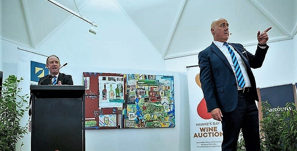 Harcourts auctioneers Bryan Thomson and Chris Kennedy at Hawkes Bay Wine Auction