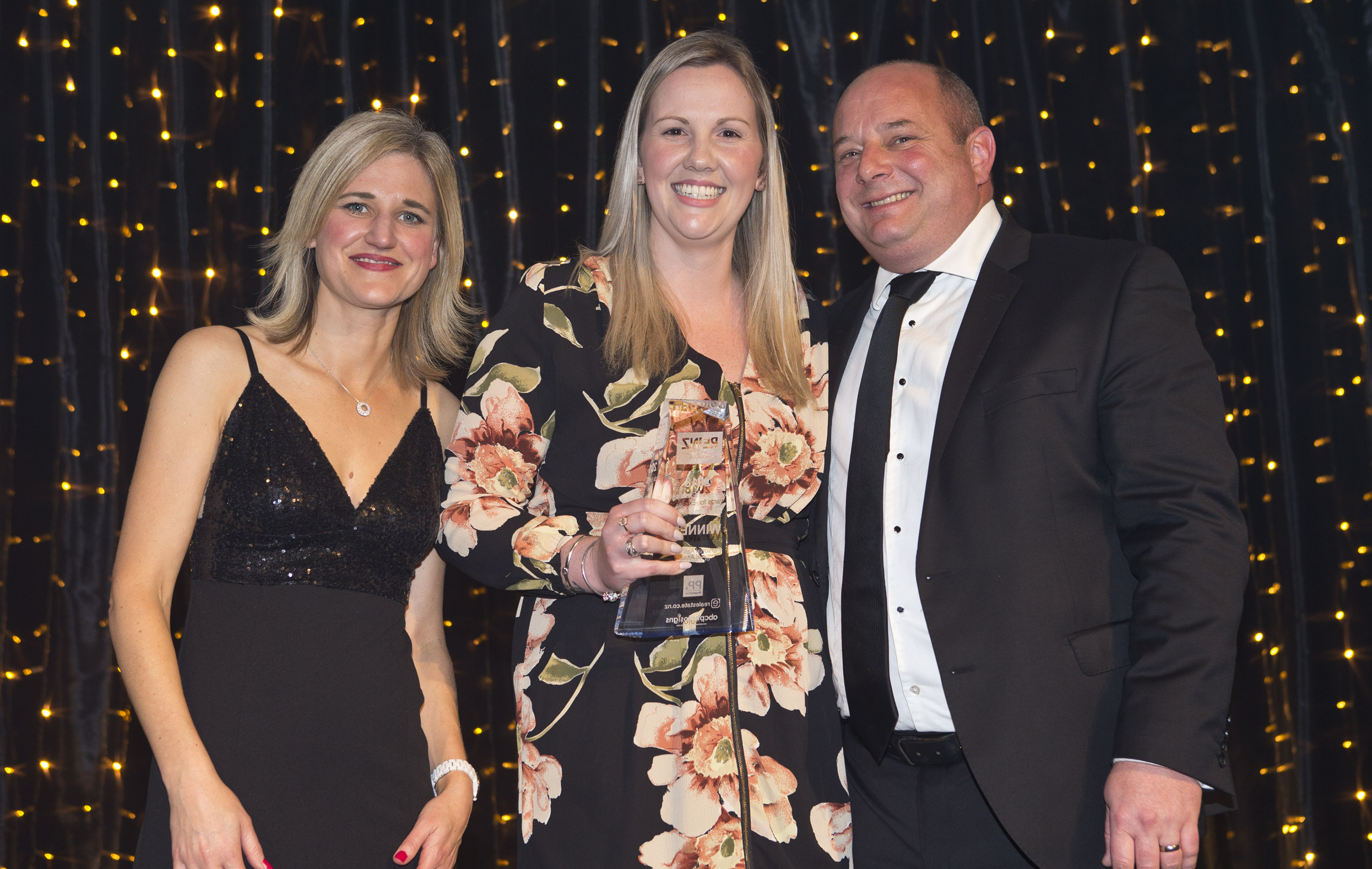 PA of the Year Award - L-R Bindi Norwell CEO REINZ, Chelsea Bol Harcourts, Jason Hussey GM Property Press